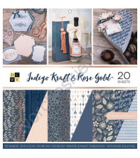 Набор двусторонней бумаги с фольгированием Indigo Kraft and Rose Gold, 30.5х30.5 см, 20 листов (ЦЕНА УКАЗАНА ЗА 1/2 ЧАСТЬ НАБОРА - 10 листов)