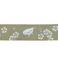 Лента атласная 12 мм с рисунком Цветы и птицы, 1 метр