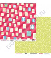 Бумага для скрапбукинга двусторонняя 30х30 см, коллекция Зимние Каникулы, лист За Окном