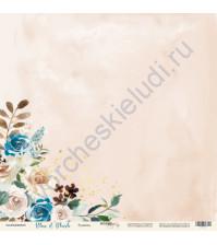 Бумага для скрапбукинга односторонняя с фольгированием 30.5х30.5 см, 190 гр/м, коллекция Blue and Blush, лист Румянец