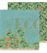 Бумага для скрапбукинга двусторонняя 30.5х30.5 см, 250 гр/м, коллекция Бабушкин сад, лист Настурции