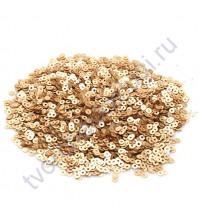 Мини пайетки круглые с матовым эффектом 3 мм, 10 гр, цвет золото
