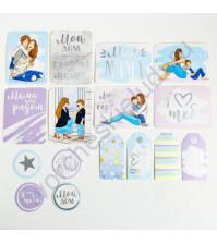 Набор карточек и высечек для журналинга с фольгированием, коллекция Моя прекрасная мама, плотность 190 гр/м, 16 элементов