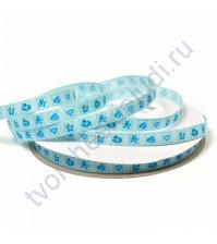 Лента репсовая 10 мм, Игрушки, цвет голубой, 1 метр