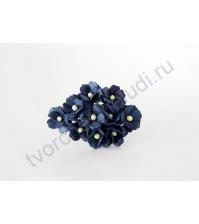 Цветы вишни средние 1.5 см, 10 шт, цвет тёмно - синий