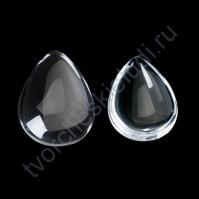 Кабошон стеклянный Капля 18х25 мм, цена указана за 1 шт