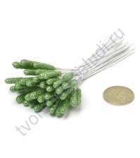 Тычинки с блестками крупные, 10 шт, высота 9 см, цвет зеленый
