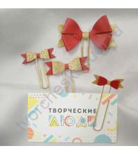 Набор декоративных Бантиков-1 на скрепках, 4 шт, цвет красный с золотом