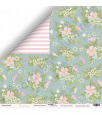 Бумага для скрапбукинга односторонняя 30.5х30.5 см, 190 гр/м, коллекция Purr Purr, лист Цветочный орнамент