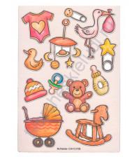 Набор чипборда с цветной печатью Детская-3, размер 11.5х16.5 см