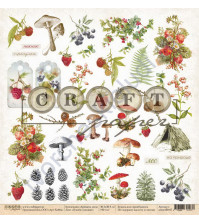 Бумага для скрапбукинга односторонняя коллекция Ароматы леса, 30.5х30.5 см, 190 гр/м, лист В моем лукошке