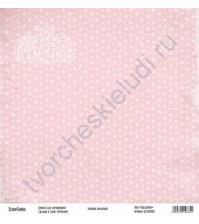 Бумага для скрапбукинга односторонняя, коллекция Базовая розовая, 30х30 см, 250 гр/м2, лист Звездочки