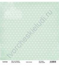 Бумага для скрапбукинга односторонняя, коллекция Базовая зеленая, 30х30 см, 250 гр/м2, лист Бантики