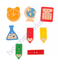 Набор декоративных резиновых пуговок Школа - это маленькая жизнь, 8 штук