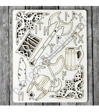 Набор чипборда Мужество, коллекция Викинги, размер 11.5х16.5 см