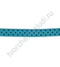 Тесьма хлопковая Точечки, ширина 10 мм, цвет голубой, 2 метра