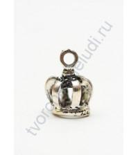 Металлическая подвеска Объемная корона, 10х16 мм, цвет серебро
