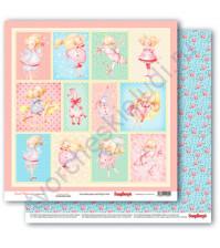 Бумага для скрапбукинга двусторонняя коллекция Маленькая принцесса, 30.5х30.5 см, 190 гр/м, лист Карточки
