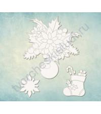 Чипборд набор Елочное украшение, 3 элемента