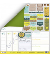 Бумага для скрапбукинга двусторонняя 30.5х30.5 см, 190 гр/м, коллекция Let's Travel , лист Карточки 2 Eng