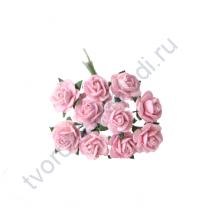Мини-розочки 1 см, 10 шт, цвет светло-розовый