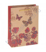 Пакет крафт Бабочка, размер 15х20х6 см