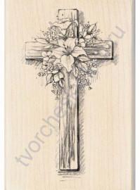 Штамп из резины на деревянной оснастке Easter Cross, 7х10 см