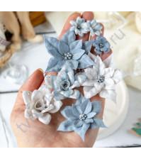 Цветы ручной работы из ткани и замши Снежная королева, 8 шт