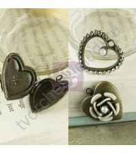 Набор винтажных металлических украшений Сердца-1, 4 элемента