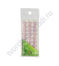 Полужемчужинки клеевые 10 мм, 27 шт, цвет св. сиреневый