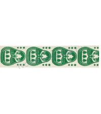 Тесьма декоративная хлопковая Матрешки, цвет зеленый, ширина 16 мм, уп. 3 метра
