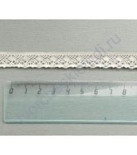 Тесьма вязаная (кружево) хлопок дизайн-28, шир. 13 мм, цвет бежевый, 1 метр