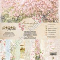 Набор бумаги Вишнёвый сад, 20х20 см, 190 гр/м, 6 двусторонних листов + 2 листа с карточками