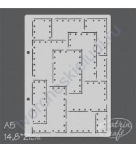 Трафарет Металлический лист с клепками большой, размер А5, 14.8х21 см