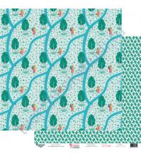 Бумага для скрапбукинга двусторонняя 30.5х30.5 см, 190 гр/м2, коллекция Красна девица, лист Березовая роща