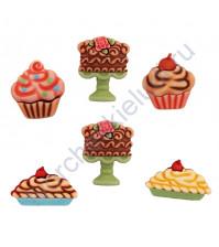 Набор пуговиц Sweet Delights.Decadent Desserts, 6 элементов
