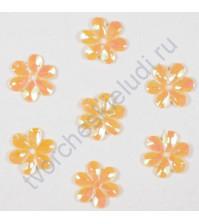 Пайетки в форме цветка с эффектом радужного перламутра 9 мм, 10 гр, цвет 186-бледно-желтый