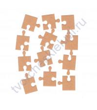 Вырубка из дизайнерской бумаги Пазл, 12 элементов, цвет в ассортименте