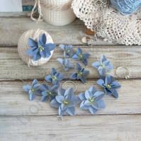 Цветы ручной работы из ткани Гортензии дуболистные, 12 шт, цвет сине-голубой