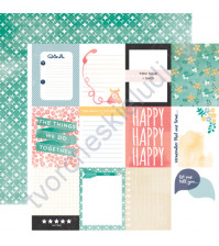 Бумага для скрапбукинга двусторонняя коллекция Hello Again Collection, 30.5х30.5 см, 180 гр/м, лист Journaling Cards
