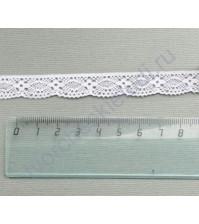 Тесьма вязаная (кружево) хлопок дизайн-26, шир. 15 мм, цвет белый, 1 метр