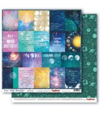 Бумага для скрапбукинга двусторонняя коллекция Космос, 30.5х30.5 см, 190 гр/м, лист Карточки-2