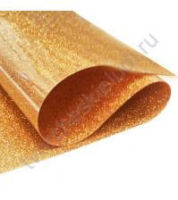 Термотрансферная пленка глиттер, цвет красное золото, 25х25 см (+/- 2 см)