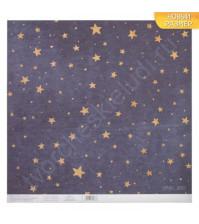 Бумага односторонняя с блестками 30.5х30.5 см, 180 гр/м2, лист Сияние звезд