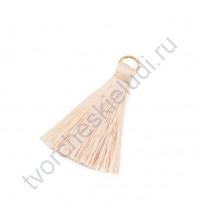 Декоративная кисточка из нитей, длина кисточки 3.5 см, 1 шт, цвет бежевый