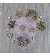 Набор металлических элементов Vintage Snowflakes, 16 элементов