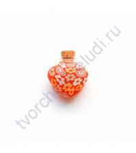 Стеклянная бутылочка с пробкой в форме сердца, 23х23х8 мм, цвет красный