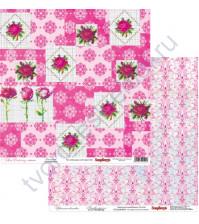 Бумага для скрапбукинга двусторонняя, коллекция Цветочная вышивка, лист Вышивка крестом