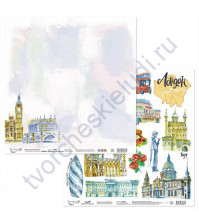 Бумага для скрапбукинга двусторонняя Прогулки по Европе, 190 гр/м2, 30.5х30.5 см, лист 1-Лондон