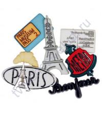 Набор декоративных элементов Париж 15-40 мм, 7 шт.